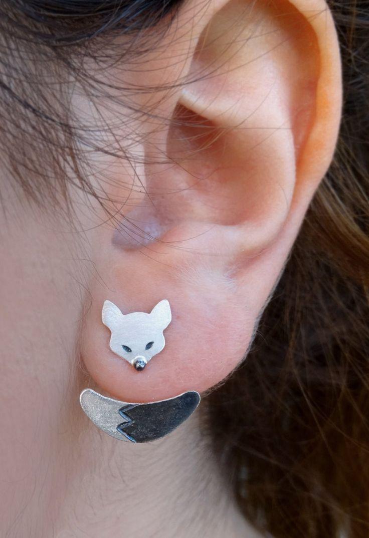 Fox Silver Ear Jacket Earrings