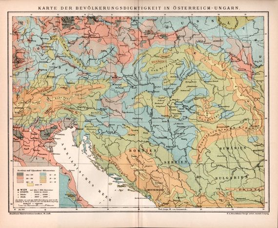 AustroHungarian Empire Population Density Old By Craftissimo - Map of austria hungary 1900 1907