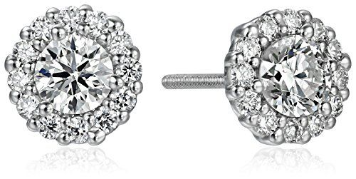 14k White Gold Diamond Solitaire Halo Stud Earrings(1cttw, K-L Color, I1-I2 Clarity) -- Check this awesome image @ http://www.amazon.com/gp/product/B0156G2ORO/?tag=ilikeboutique09-20&za=130816202950