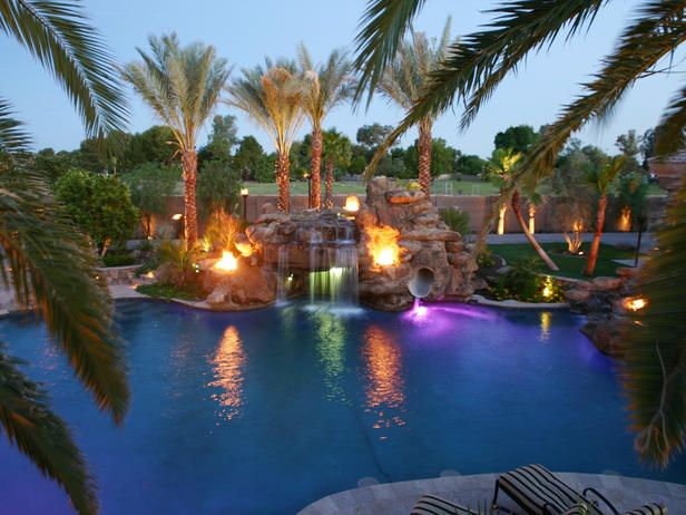 Million Dollar Pool    The Kitchukov family of Gilbert, Ariz., wanted a pool worthy of a Las Vegas resort, so that's exactly what they built. This one, far larger than most hotel pools, features waterfalls, palm trees, custom lighting and flaming fountains.
