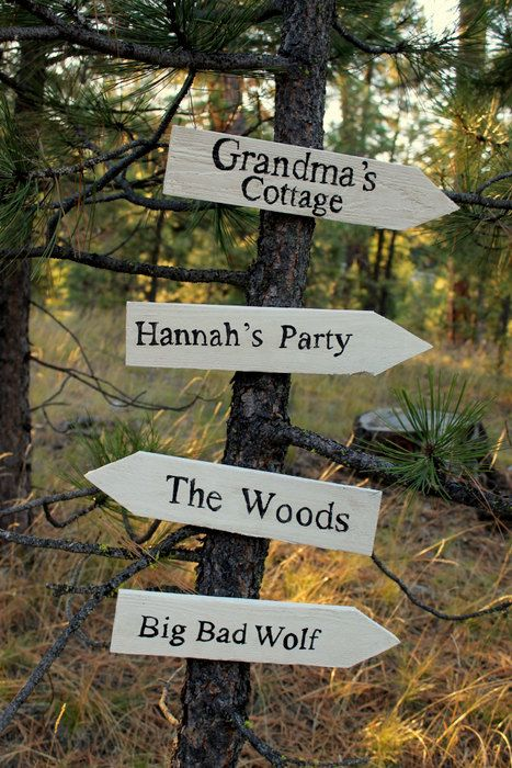 Little Red Riding Hood party direction signs