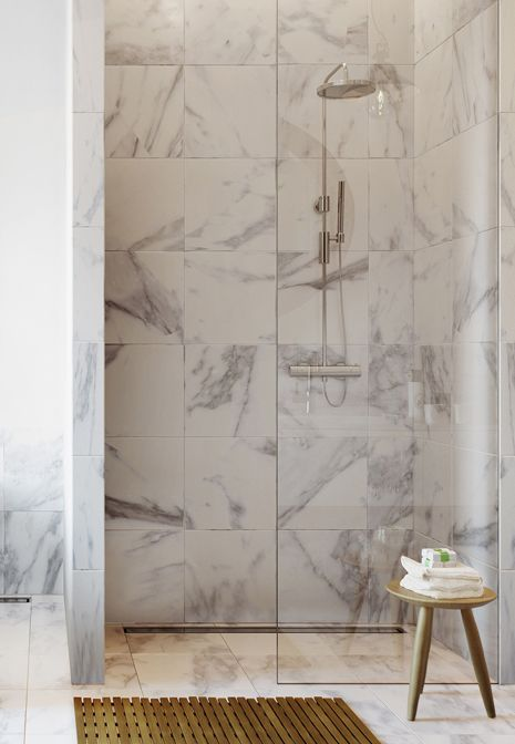 Marble shower, bench
