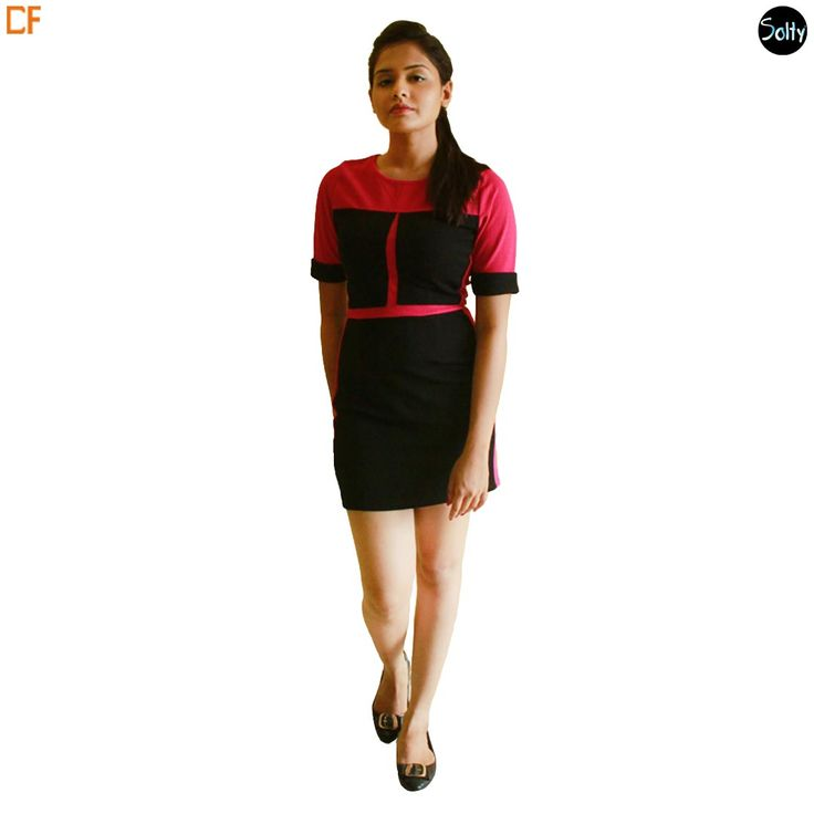 BLOCK FUCHSIA AND BLACK #PARTYDRESS Fuchsia and Black coloured party dress in lycra with colour blocking effect. Geometric prints with colour blocking effect in a combination of fuchsia and black. Body con dress which hugs you at the right places. The sleeves are mid length with a black border. The model adorning this dress is 5'5 tall. http://www.droomfashion.com/shop/gowns-dresses/party_dresses_block_fuchsia_and_black_party_dress/