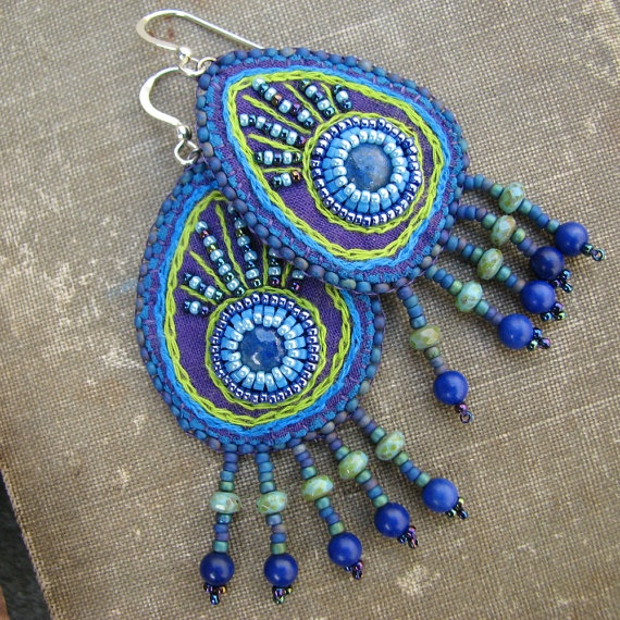 peacock embroidered earrings with beaded fringe