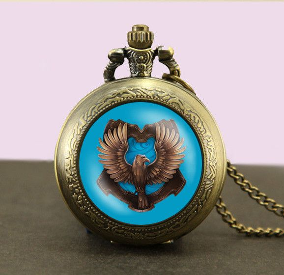 Harry Potter ravenclaw Locket necklace,Harry Potter ravenclaw Pocket Watch Necklace,ravenclaw fob watch locket necklace