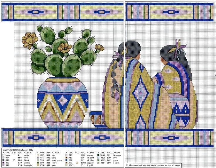 0 point de croix cactus and mexican women - cross stitch femmes mexicaines
