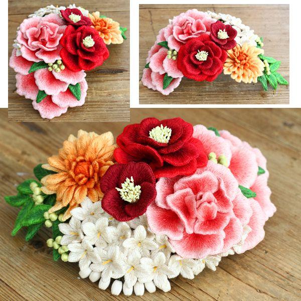 felt embroidery headpiece by PieniSieni フェルト刺繍のヘッドドレス(髪飾り)