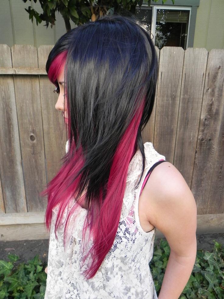 Dark Auburn Red and Black / Long Straight Layered