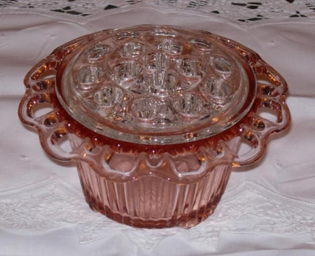 Old Colony Pink Depression Glass Vase with Clear Flower Frog  Hocking Glass Company - ca. 1935-1938                                                                                                                                                                                 More