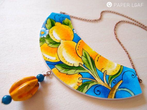 Collana di carta ScentOfSicily   Pezzi unici fatti a mano   gioielli dipinti a mano