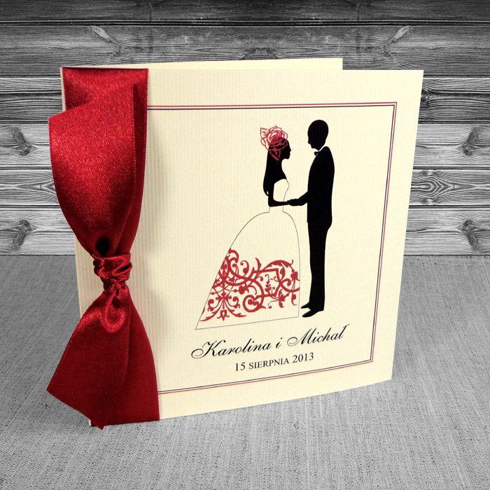 Zaproszenia na ślub z Parą Młodą - Zaproszenia z parą młodą bordo, ecru prążek 7