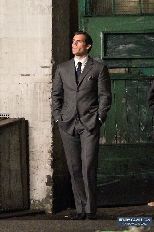 Henry Cavill on set of 'Man From Uncle'.