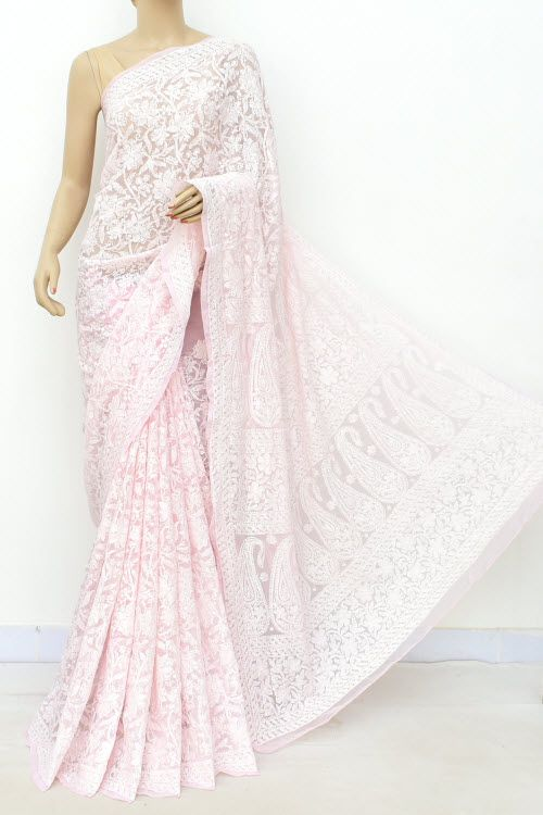 987b876e1b Baby Pink Allover Hand Embroidered Lucknowi Chikankari Saree (With Blouse -  Faux Georgette) 14703