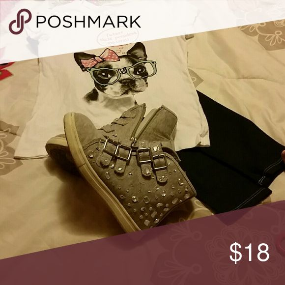 Girls High Top Sneakers Grey w embellished sequins, only worn twice Justice Shoes Sneakers
