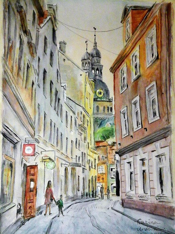 Original watercolor cityscape painting colorful wall art