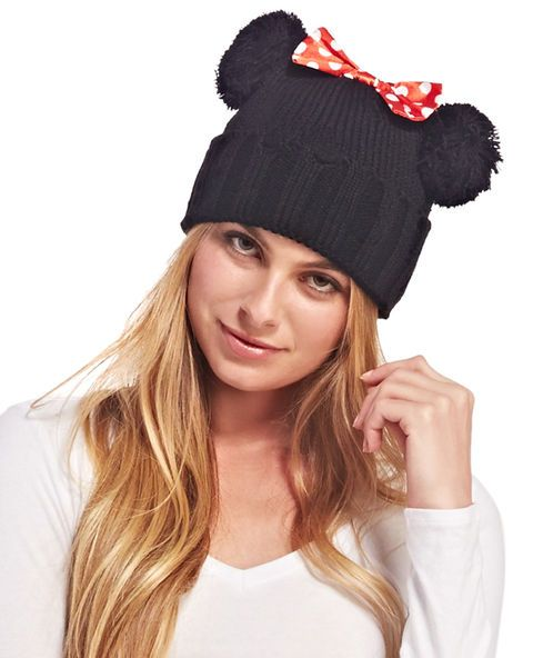 <p>Get into character with this cute and cozy Minnie™ ear knit beanie! With fuzzy pom pom ears and a silky polka dot bow detail, this beanie is just what you need to top off your Minnie™ Halloween costume! Beanie also features a knit body with a ribbed knit cuff and distressed detail all over.</p>  <ul> <li>100% Acrylic</li> <li>Imported</li> </ul>