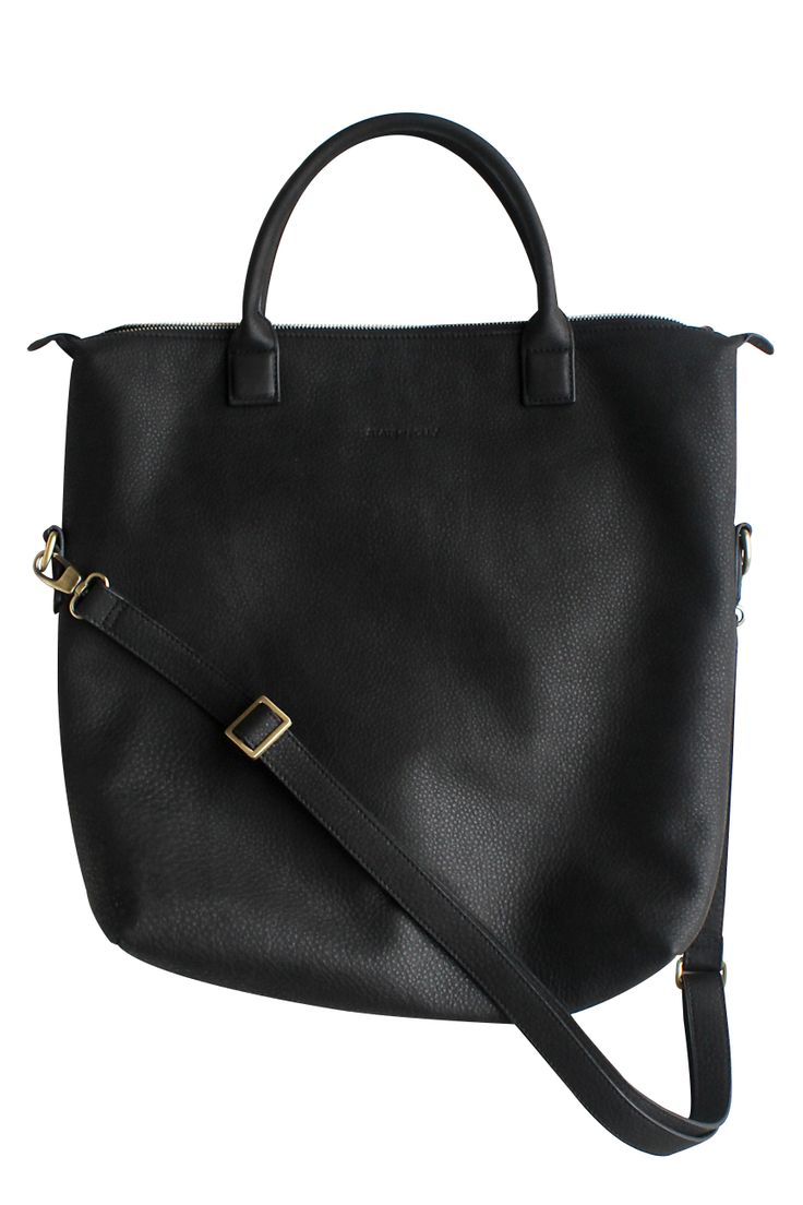 Square Black Tumble Leather Tote