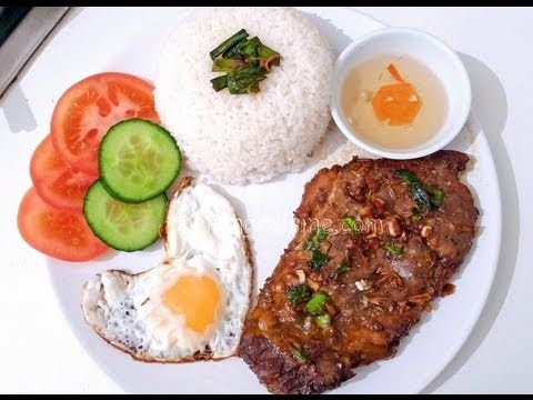 Vietnamese grilled pork chop with broken rice and heart-shaped eggs  Ingredients (2 servings)   1½ cup rice  2 eggs  Cucumber & tomato slices  2 pork chops  1 tbsp minced lemongrass  1 tbsp minced garlic (~3 cloves)  1 chopped spring onion  1 tbsp fish sauce  1 tbsp light soya sauce (Maggi's recommended)  ½ tbsp dark soya sauce (optional)  1 tbsp sugar (or ...