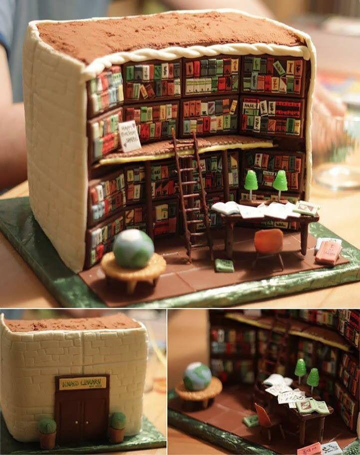 El pastel de mis sueños. (The cake of my dreams) <3  #Books #Library #Cake #BrithdayCake