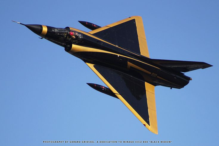 """Mirage IIICZ """"Black Widow"""", a former South African Air Force fighter has flown its last flight (a few years ago), and will be delivered by road to AFB Zwartkop in Pretoria, where it will join a collection of other Mirages on static display for the rest of its days."""