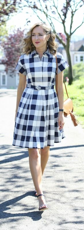 What to wear to your company picnic {gingham shirt dress, navy ankle strap low heel sandals, camel saddle bag, navy watch + curled hairstyle} {eliza j, oliveve, tory burch}