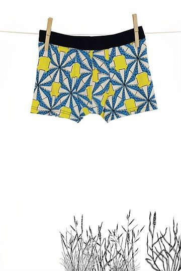 'Whirlygig'  Three colour screen print for Thunderpants NZ.   Mens fitted boxers