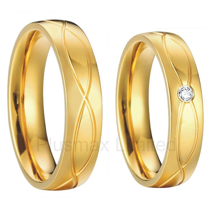 gold plated wedding band engagement promise ring set pair titanium vintage costume couples bridal jewellery
