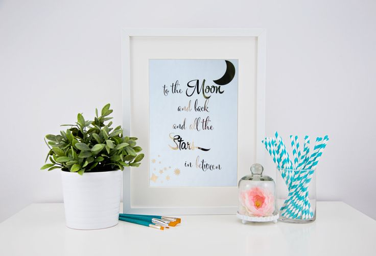 Real foil print - to the Moon and Back foil print by CheekyLittleMoo on Etsy https://www.etsy.com/au/listing/250242630/real-foil-print-to-the-moon-and-back