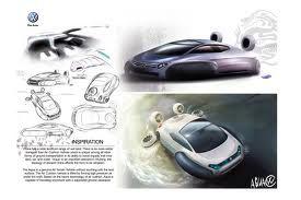 Je ziet hier aan de rechter kan hoe ze te werk zijn gegaan met het ontwerpen van dit amfibie voertuig. Links zie je onderin het logo en rechts boven de eerste schets in zwart wit.