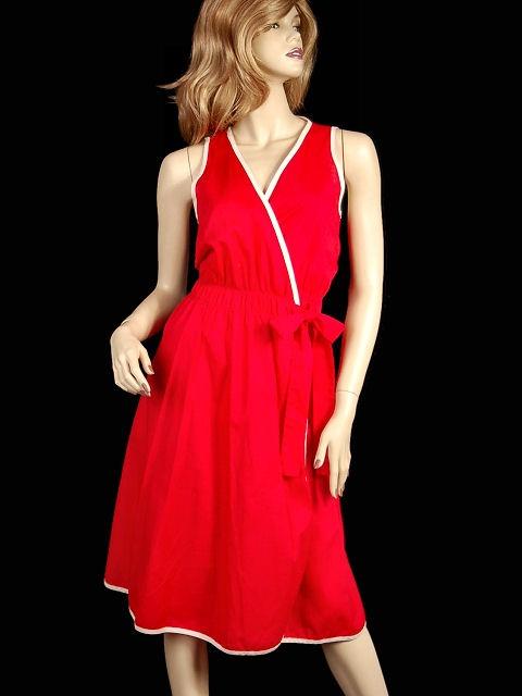 Vintage Red/White Cotton Wrap Dress Geoffrey Beene For Swirl 1980s