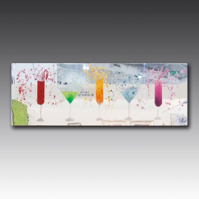 These astounding pieces of creative artwork are made to order. An image of your choice is recreated in delicate liquid glass, studded by exotic, precision-cut Swarovski crystals. This particular expression of art features six beautiful champagne flutes in a smattering of different vibrant colours.