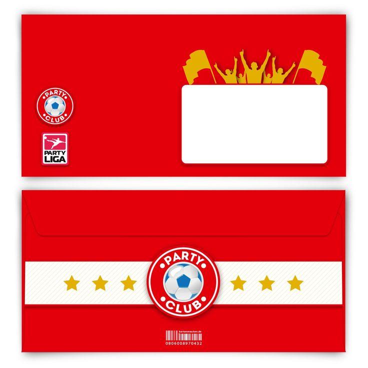 Fußball ist unser Leben! (Briefumschlag, DIN Lang quer) #briefumschlag #papeterie #kreativ #fußball #rot