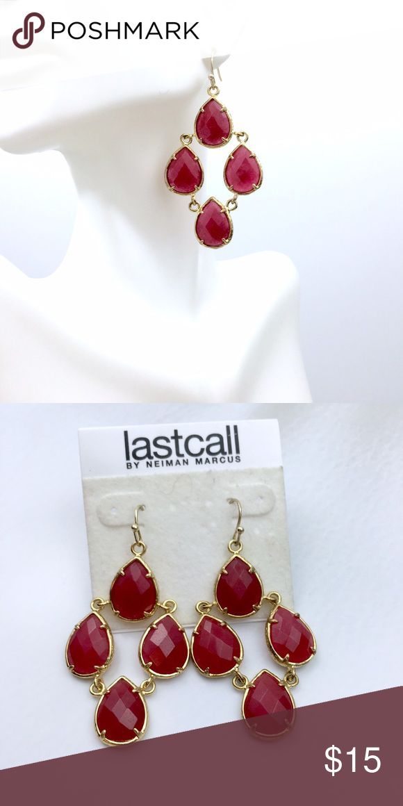 Last Call Neiman Marcus Red  Statement Earrings Red Drop Statement Earrings by Neiman Marcus Last Call Neiman Marcus Jewelry Earrings