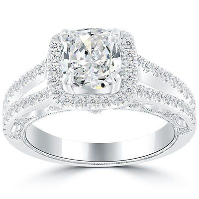 2.40 Carat G-SI1 Cushion Cut Diamond Engagement Ring 18k Pave Halo Vintage Style