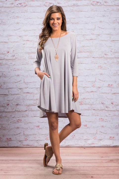 """Steady In Love Dress, Cool Gray"" The love you have for this will be as steady as can be! The cool gray color is wonderfully neutral. Which means you can add just about any pop of color you want! #newarrivals #shopthemint"