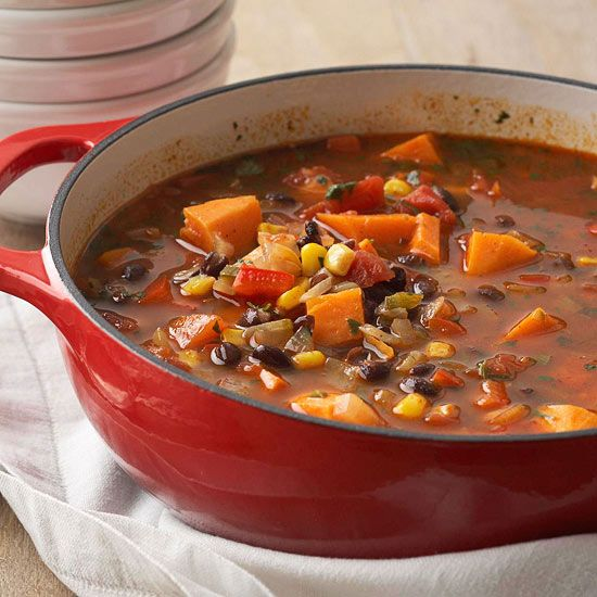 Our Sweet Potato-Black Bean Stew has a great chili-like texture: http://www.bhg.com/recipes/soup/vegetarian-soup-chili/vegetarian-soup-recipes/?socsrc=bhgpin081614sweetpotatoblackbeanstew&page=13