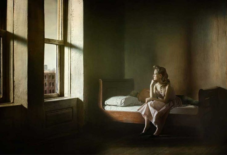 "Woman And Man On A Bed  ""Hopper Meditations"" a series of Hopper-inspired photos  by Richard Tuschman"