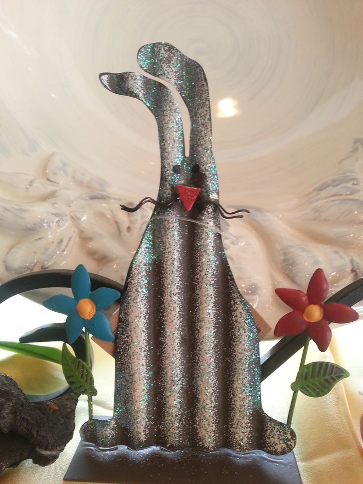 Metal Bunny with Flowers