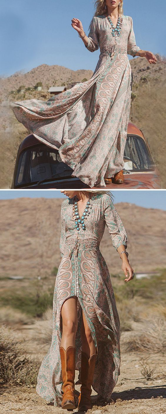 Motor goddess, old truck, get this maxi boho dress with minimum effort @JASSIELINE.com