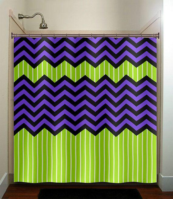 Lime Green Stripe Purple Zig Zag Chevron Shower By Tablishedworks 67 00