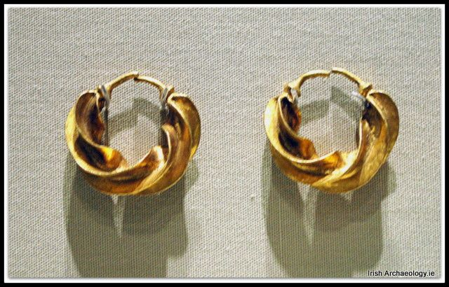 A pair of Bronze Age gold earrings from Castlerea, Co. Roscommon, Ireland. They are circa 3,000 years old.