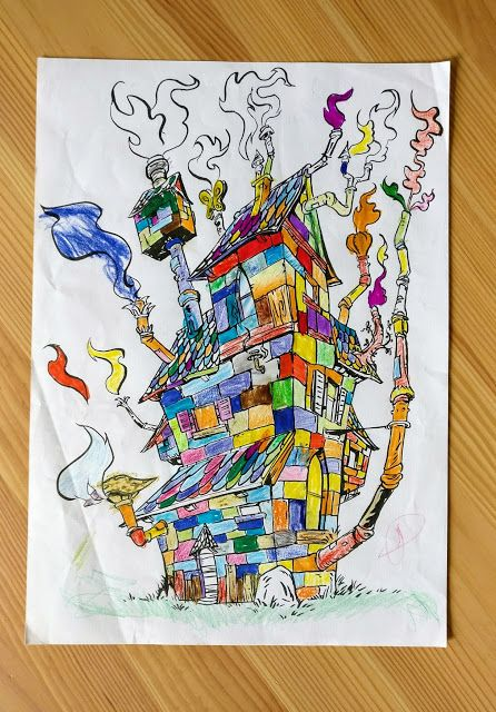 coloriage maison cheminée enfant dessin couleurs Le Pueblo