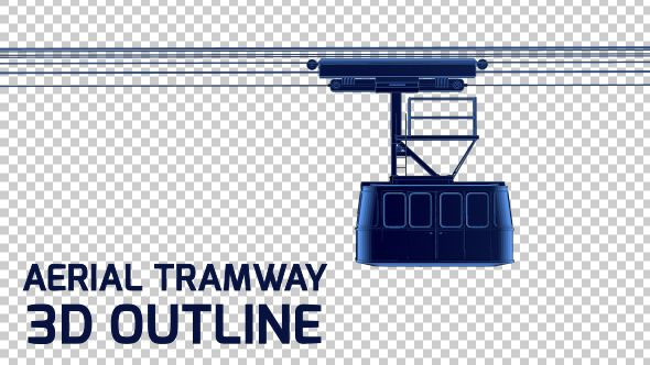 Cable Car - Aerial Tramway - 3D Outline