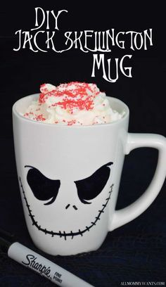 Here comes Jack Skellington! Halloween and Christmas are the perfect time to make these Jack Skellington mugs! Use them for some hot cocoa or a pen holder on your desk.. Create a fun gift for a Nightmare Before Christmas fan! Fill it with trinkets or a Starbucks gift card. Best of all? It only cost …