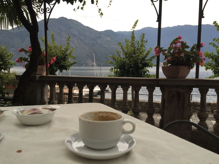 Grabbing a coffee on the shores of Lake Como