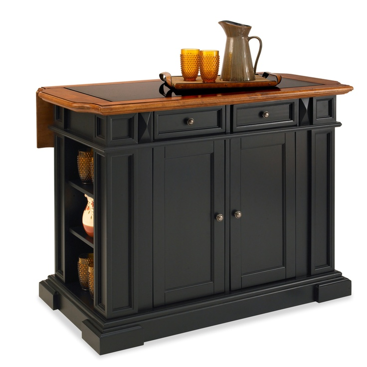 Home Styles Black and Distressed Oak Deluxe Traditions Kitchen Island | Overstock.com