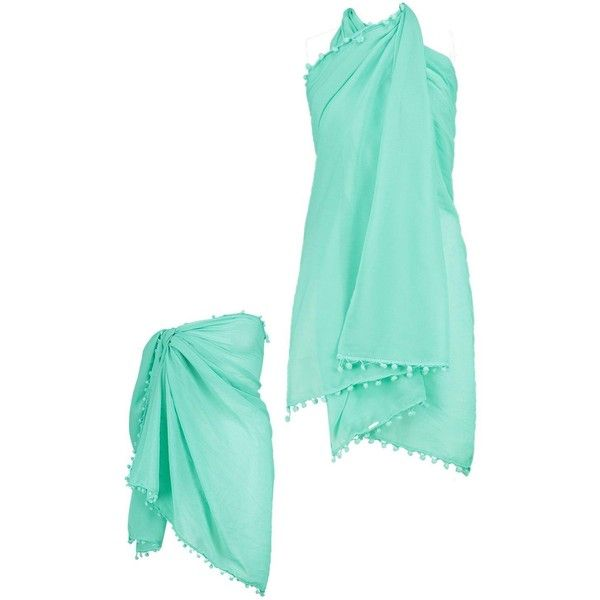Boohoo Mia Pom Pom Multiwear Beach Sarong   Boohoo ($10) ❤ liked on Polyvore featuring swimwear, cover-ups, sarong swimwear, beach cover ups, beach wear, boohoo swimwear and beach swimwear
