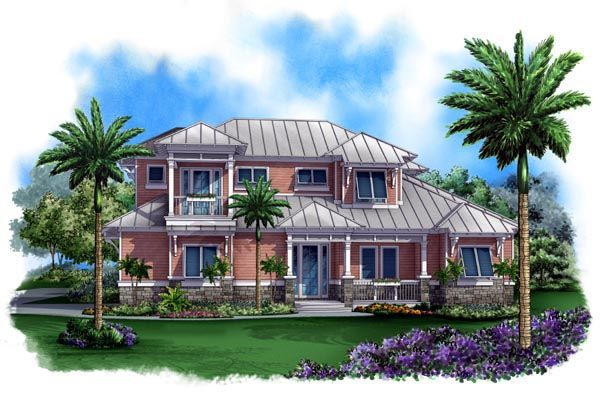 Florida Mediterranean House Plan 60542