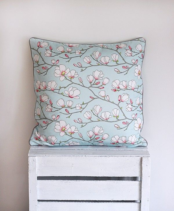 Magnolia amazing light blue pillow from Lisa Edoff design. It makes us longing for spring! #lisaedoff #nordicdesigncollective #pillow #cushion #pillowcase #homedecor #home #decor #interior #couch #sofa #magnolia #flower #lightblue #blue #shite #pink #pastel #spring #scandinaviandesign #swedishdesign