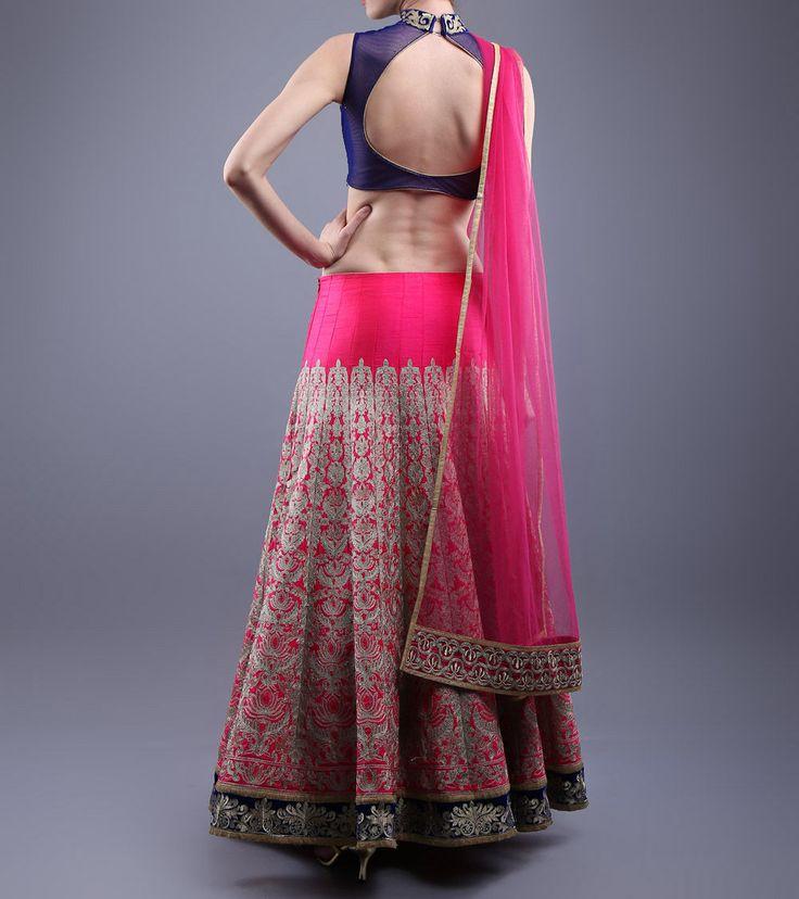 Pink & Blue Tilla Embroidered Velvet & Raw Silk Lehenga Set